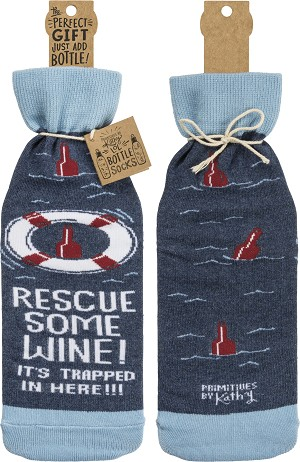 Rescue Some Wine It's Trapped Gift Bottle Sock Holder from Primitives by Kathy