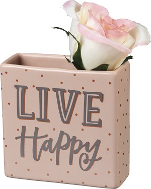 Live Happy Square Stoneware Vase 4x4 from Primitives by Kathy