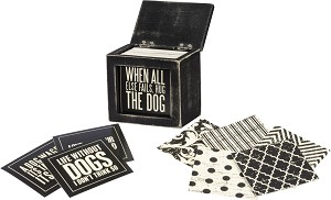 Words Of Wisdom Hinged Wooden Box With 80 Dog Themed Cards from Primitives by Kathy