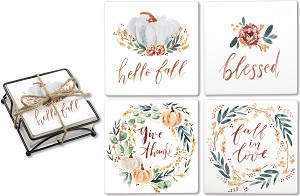 Set of 4 Fall Blessings Absorbent Stone Drink Coasters from Primitives by Kathy