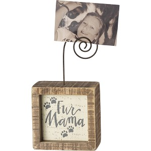 Dog Lover Fur Mama Decorative Inset Wooden Box Sign With Photo Holder 3x3 from Primitives by Kathy