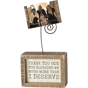 Thank You God For Blessing Me Inset Wooden Box Sign With Photo Holder 4x3 from Primitives by Kathy