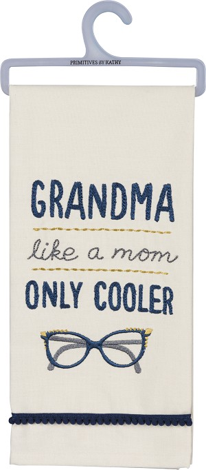 Grandma Like A Mom Only Cooler Cotton Dish Towel 18x26 from Primitives by Kathy