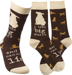 Dog Lover I Like Big Mutts And I Cannot Lie Colorfully Printed Cotton Socks from Primitives by Kathy