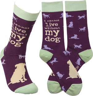 I Cannot Live Without My Dog Colorfully Printed Cotton Socks from Primitives by Kathy
