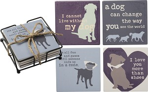 Set of 4 Dog Lover Fun And Games Aborbent Stoneware Drink Coasters from Primitives by Kathy