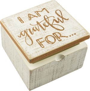 I Am Grateful For... Decorative Hinged Wooden Keepsake Box 4x4 from Primitives by Kathy