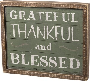 Green & Neutral Grateful Thankful And Blessed Decorative Slat Wood Inset Box Sign 14x12 from Primitives by Kathy