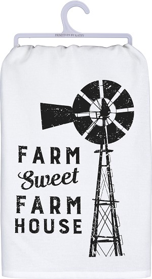Windmill Farm Sweet Farm Cotton Dish Towel 28x28 from Primitives by Kathy