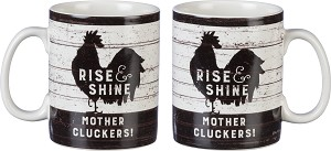 Rise & Shine Mother Cluckers Double Sided Stoneware Coffee Mug 20 Oz from Primitives by Kathy