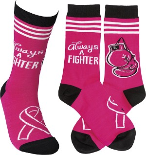Always A Fighter Colorfully Printed Cotton Socks from Primitives by Kathy