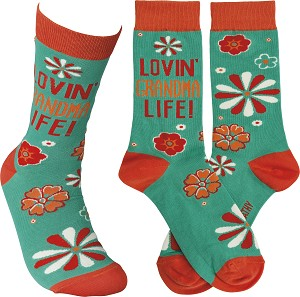 Lovin' Grandma Life Colorfully Printed Cotton Socks from Primitives by Kathy
