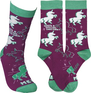 Who's A Special Unicorn? Me! Colorfully Printed Cotton Socks from Primitives by Kathy