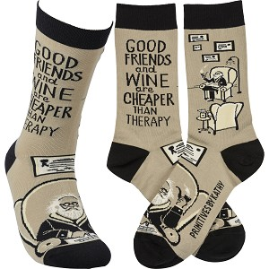 Good Friends & Wine Are Cheaper Than Therapy Colorfully Printed Cotton Socks from Primitives by Kathy