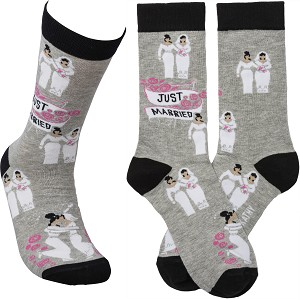 Just Married (Two Brides) Colorfully Printed Cotton Socks from Primitives by Kathy