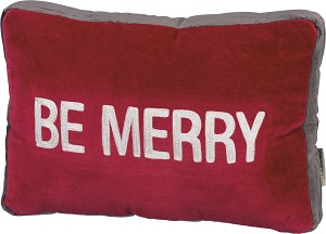 Holiday Themed Be Merry Red & White Decorative Velvet Throw Pillow 15x10 from Primitives by Kathy