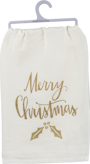Gold Glitter Holly Design Merry Christmas Cotton Dish Towel 28x28 from Primitives by Kathy