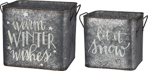 Set of 2 Decorative Metal Storage Bins (Let It Snow & Warm Winter Wishes) from Primitives by Kathy
