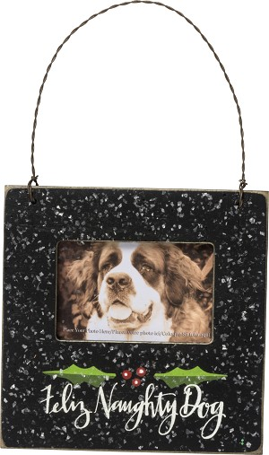 Dog Lover Feliz Naughty Dog Mini Wooden Photo Picture Frame (Holds 3x2 Photo) from Primitives by Kathy