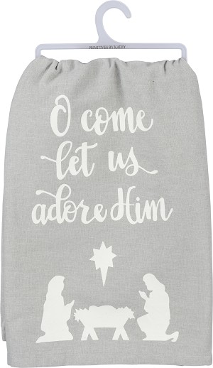Gray & White O Come Let Us Adore Him Cotton Dish Towel 28x28 from Primitives by Kathy