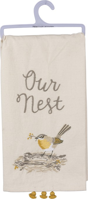 Stitched Bird Our Nest Cotton Dish Towel 20x26 from Primitives by Kathy