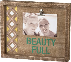 Beauty Full Decorative Inset Box Sign With Photo Holder Clip (Holds 6x4 Photo) from Primitives by Kathy