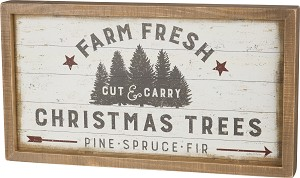 Farm Fresh Christmas Trees Decorative Inset Wooden Box Sign 20x11 from Primitives by Kathy