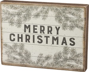 Merry Christmas Branch Design Decorative Wooden Box Sign from Primitives by Kathy