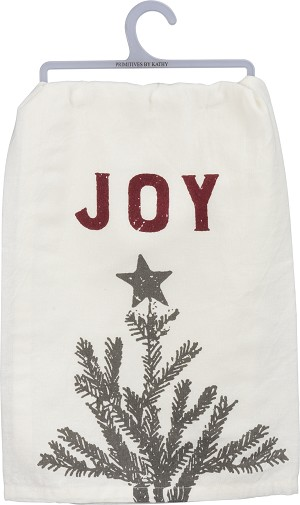 Christmas Tree Joy Cotton Dish Towel 28x28 from Primitives by Kathy