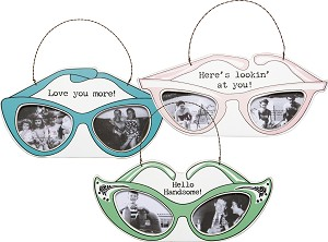 Set of 3 Sunglasses Shaped Mini Photo Picture Frames from Primitives by Kathy